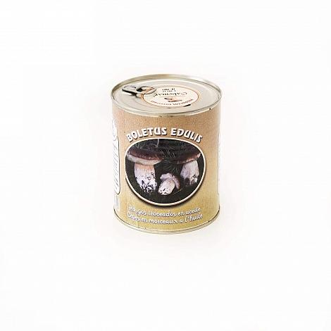 Boletus Edulis troceados en aceite en lata